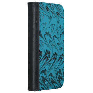 Vintage Swirls Turquoise Peacock Teal Black Waves iPhone 6 Wallet Case