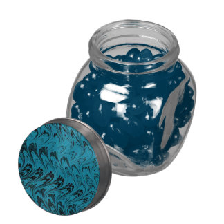 Vintage Swirls Turquoise Teal Black Waves Jelly Belly Candy Jar