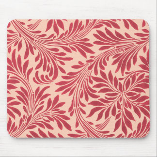 Vintage Swirly Leaves in Brick Red Mouse Pad