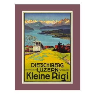 Vintage Swiss Alps Lucerne Rigi advertising Postcard