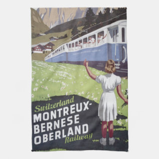 Vintage Swiss Alps Travel Hand Towel at Zazzle
