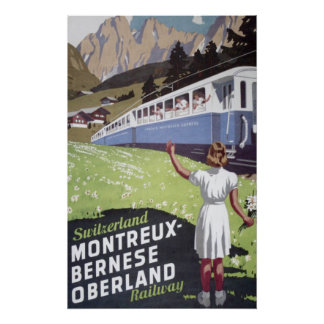 Vintage Swiss Alps Travel Poster