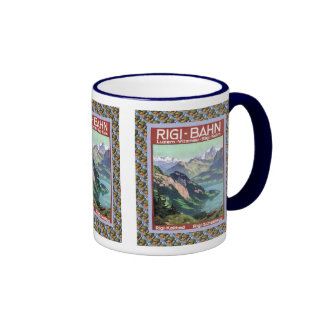 Vintage Swiss design, Rigi Bahn Ringer Coffee Mug