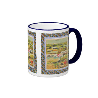 Vintage Swiss design, Vitnau Rigi Bahn Ringer Coffee Mug