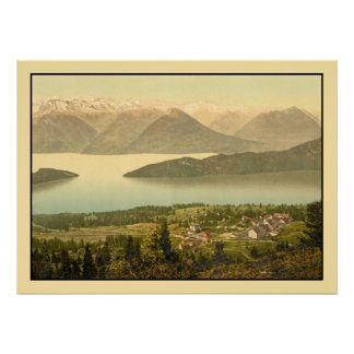 Vintage Swiss Panorama of Rigi Kaltbad Poster