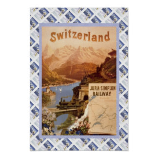 Vintage Swiss Poster Jura Simplon Railway