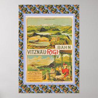 Vintage Swiss Poster Vitznau Rigi Bahn