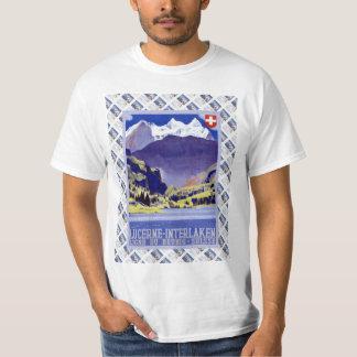 Vintage Swiss Railway Poster Luzern Interlaken T-Shirt