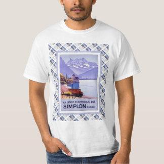 Vintage Swiss Railway Poster Simplon Electric T-Shirt