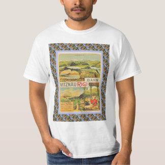 Vintage Swiss Railway Poster Vitznau Rigi Bahn Tee Shirts