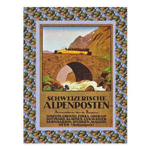 Vintage Swiss Railway Schweizerische Alpenposten Postcards