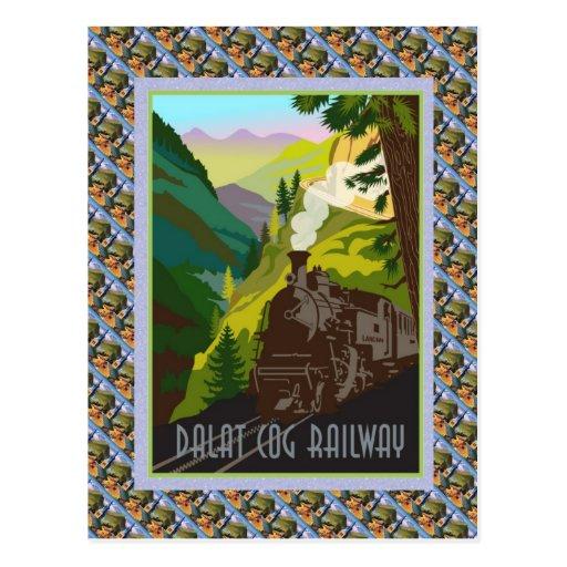 Vintage Swiss Raulway Poster, Dalat Cog Railway Postcard