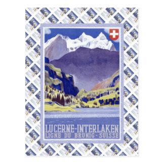 Vintage Swiss Raulway Poster, Interlaken Luzern Postcard