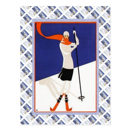 Vintage Swiss Raulway Poster, Ski Post Card