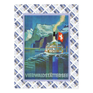 Vintage Swiss Raulway Poster, Vierwaldstattersee Postcard