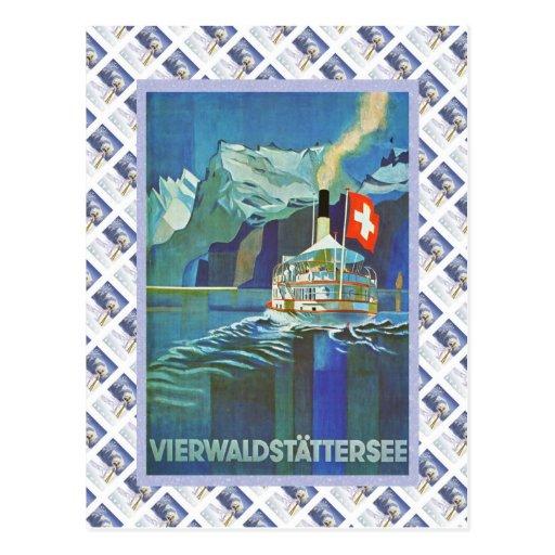 Vintage Swiss Raulway Poster, Vierwaldstattersee Post Cards