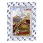 Vintage Swiss Raulway Poster, Zermatt Postcard