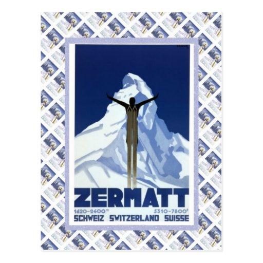 Vintage Swiss Raulway Poster, Zermatt Postcards