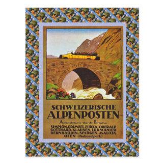 Vintage Swiss Raulway Schweizerische Alpenposten Postcard