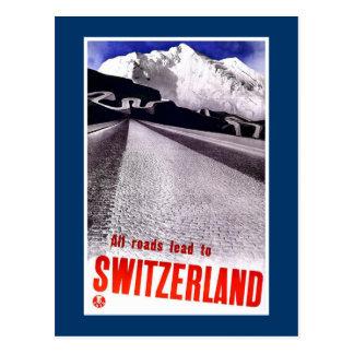 """Vintage Swiss Travel Poster"" Postcard"