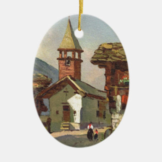 Vintage Switzerland, A village in the Valais Ceramic Ornament