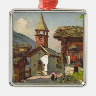 Vintage Switzerland, A village in the Valais Metal Ornament