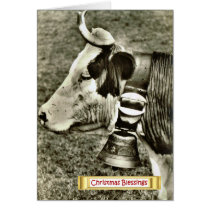 Vintage Switzerland, cow with a cow bell Card
