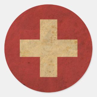 Vintage Switzerland Flag Classic Round Sticker