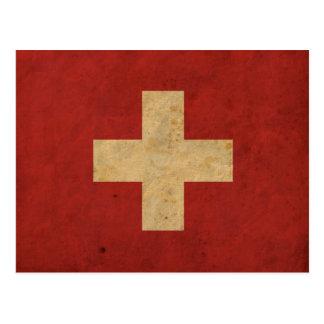 Vintage Switzerland Flag Postcard