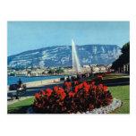 Vintage Switzerland, Geneva, Jet l'eau, gardens Postcard