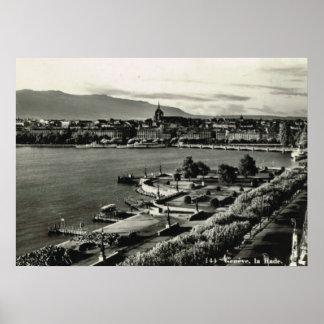 "Vintage Switzerland Geneva, ""La Rade"" Poster"