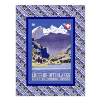 Vintage Switzerland, Lucerne Interlaken, Brunig Postcard