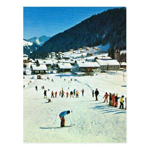 Vintage Switzerland, Morgins Ecole de ski Postcards