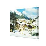 Vintage Switzerland, Morgins ski resort Gallery Wrap Canvas