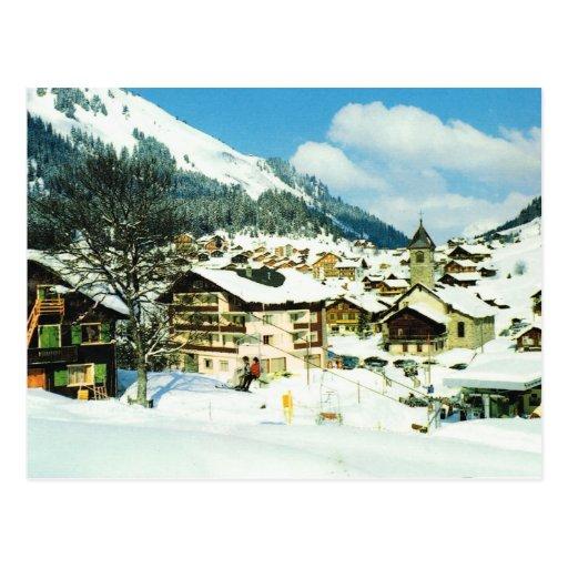Vintage Switzerland Morgins, ski resort in winter Post Card