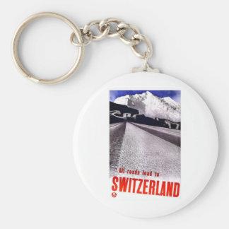 Vintage Switzerland Roads Basic Round Button Keychain