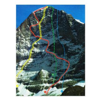 Vintage Switzerland Routes up the Eiger Postcard