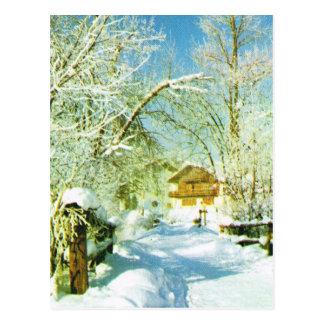 Vintage Switzerland Winter scene in the mountains Postcard