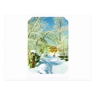 Vintage Switzerland, winter village Postcard