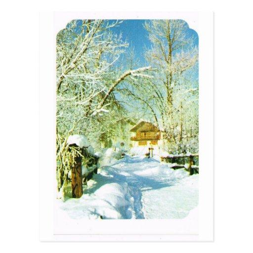 Vintage Switzerland, winter village Postcards