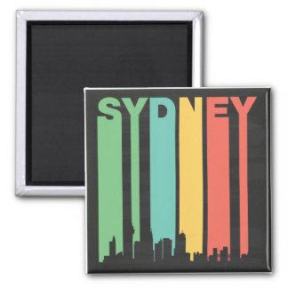 Vintage Sydney Cityscape 2 Inch Square Magnet
