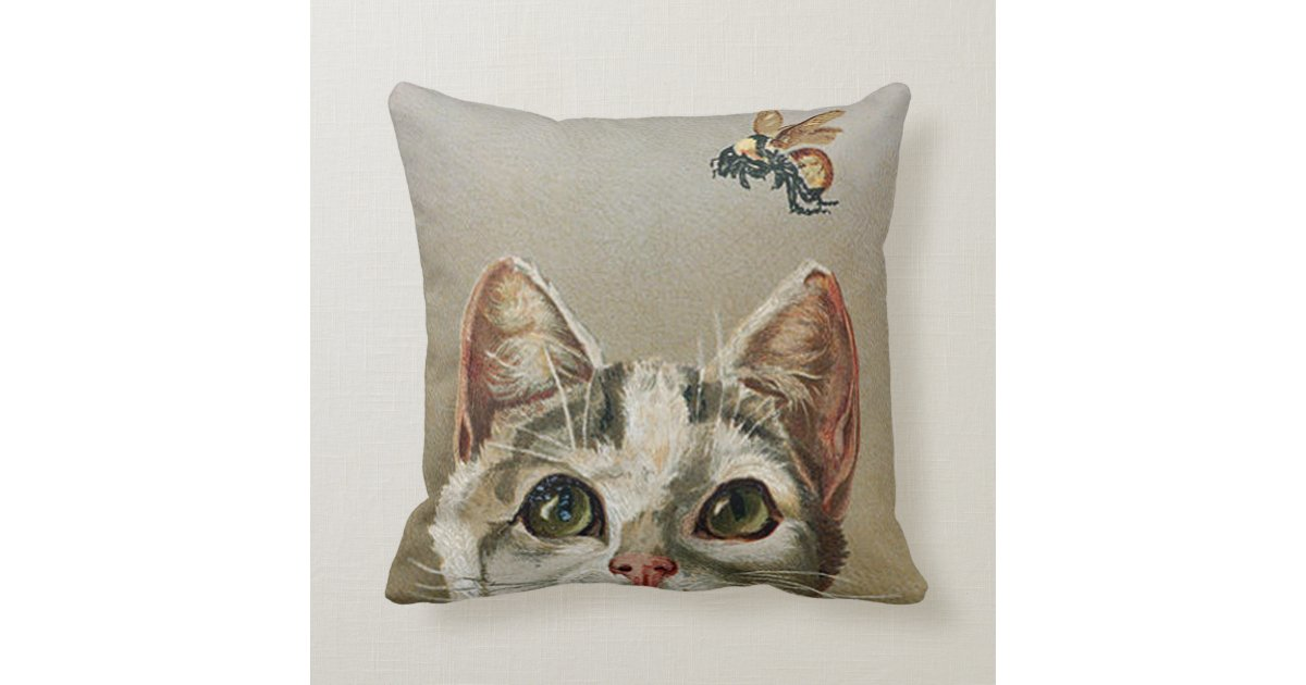 Vintage Tabby Cat And Bee Throw Pillow Zazzle Com