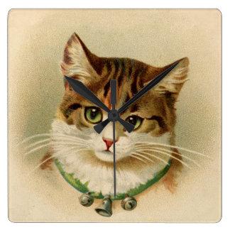 Vintage Tabby Cat Print Square Wall Clock