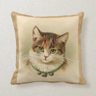 Vintage Tabby Cat Print Throw Pillow