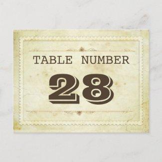vintage table number cards postcards