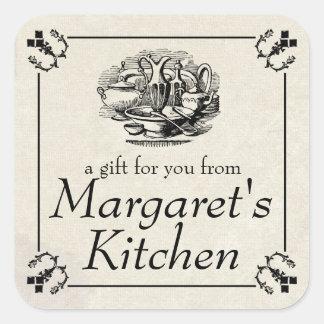 Vintage tableware food gift tag label square sticker