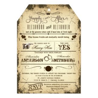 "Vintage Tag Die-Cut Storyline Wedding Invite 5"" X 7"" Invitation Card"