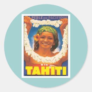 Vintage Tahití Pegatinas Redondas