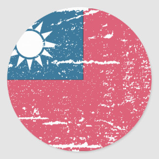 Vintage Taiwan Flag Classic Round Sticker