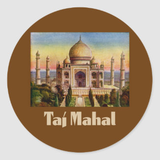 Vintage Taj Mahal Classic Round Sticker